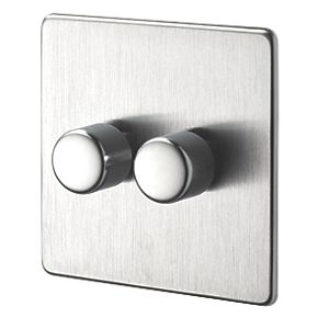 Crabtree 2G 2W 250W Dimmer Brushed Chrome