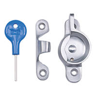Carlisle Brass Locking Sash Fastener Fitch Pattern Satin Chrome 68mm x 25mm