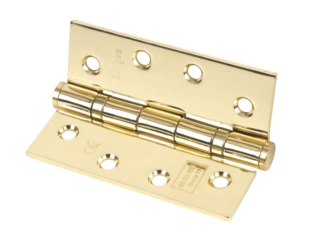 Grade 11 Ball Bearing Hinge Polished Brass 102 x 76mm Pack of 3