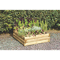 Forest Square Half-Sleeper Raised Bed Natural Wood 958 x 958 x 300mm