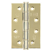 Smith & Locke Grade 7 Fire Door Washered Hinges Electro Brass Plated 102 x 67mm 2 Pack