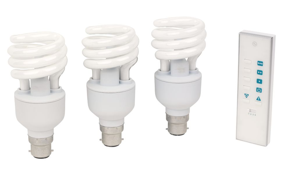 LightwaveRF Dimmable 20W Spiral CFL BC with Li-Ion Powered Remote Pack of 3