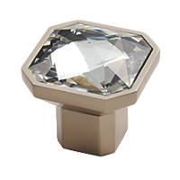 Carlisle Brass Crystal Square Furniture Knob Matt Satin Nickel 32mm