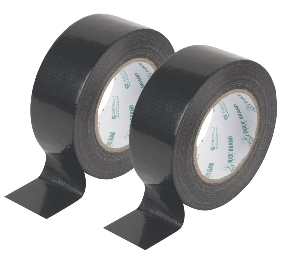 Duck Original Cloth Tape Black 50mm x 50m Pack of 2