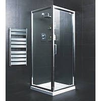 Moretti   Pivot Door Shower Enclosure  Silver 760 x 760 x 1850mm