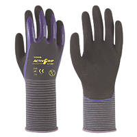 Towa ActivGrip CJ-568 Nitrile Finger-Coated Gloves Black/Purple Extra Large