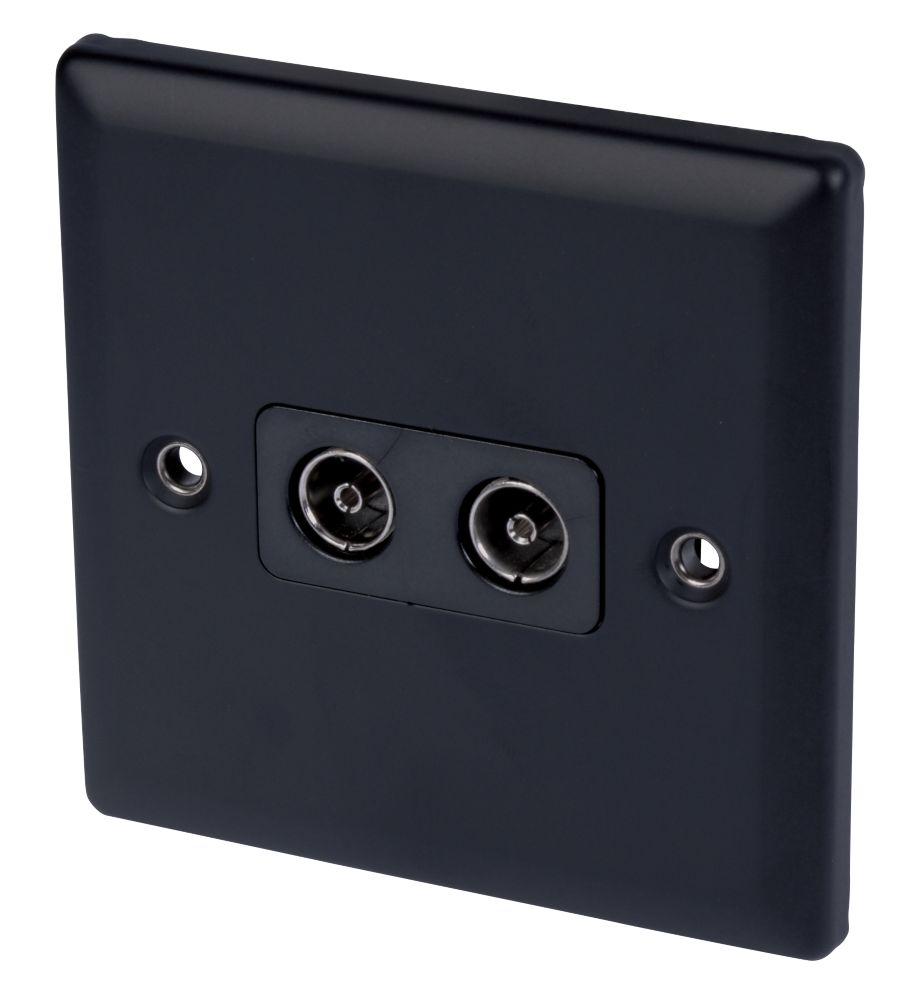 Volex Twin TV Socket Blk Ins Matt Black Angled Edge