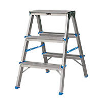 Double-Sided Folding Aluminium Stepladder 2 x 3-Tread 0.64m
