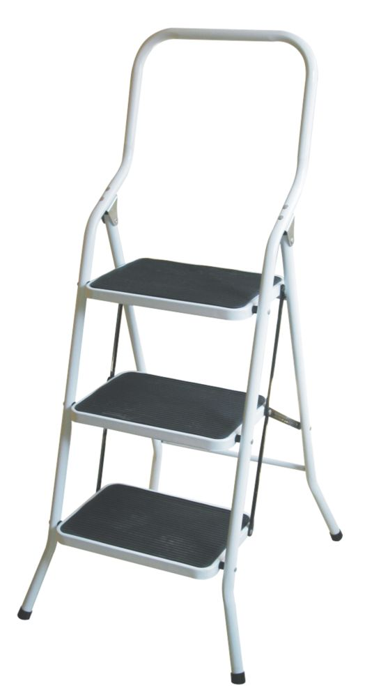 Safety 3-Tread Platform Step Ladder Steel