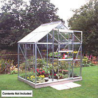 Halls Popular Framed Greenhouse Aluminium 6' x 4'