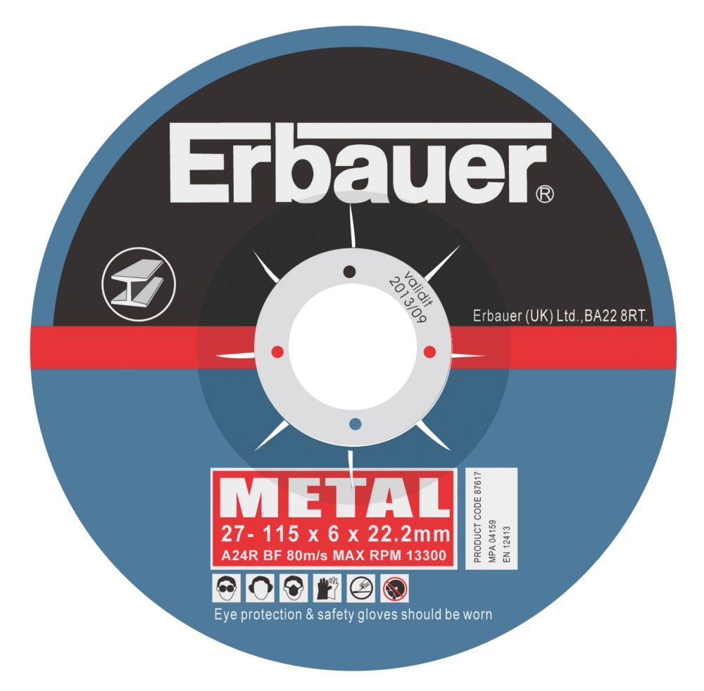 Erbauer Metal Grinding Discs 115 x 6 x 22.23mm Pack of 10