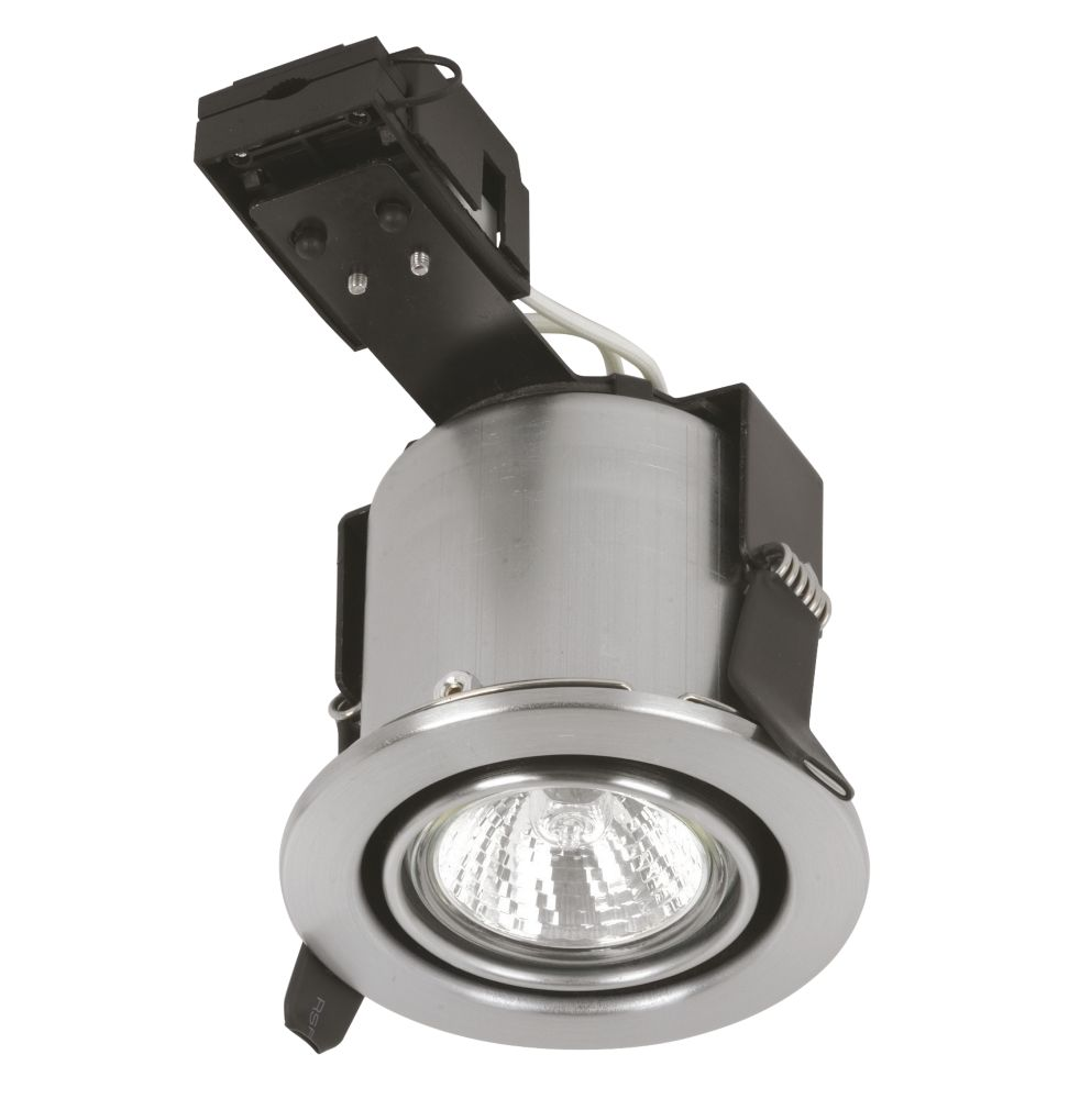 Sylvania Adjustable Round Mains Volt Fire Rated Downlight Brsh. Steel 240V