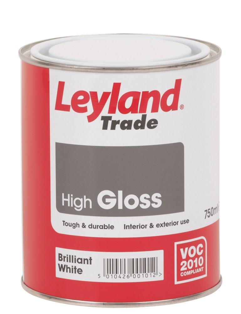Leyland High Gloss Paint Brilliant White 750ml