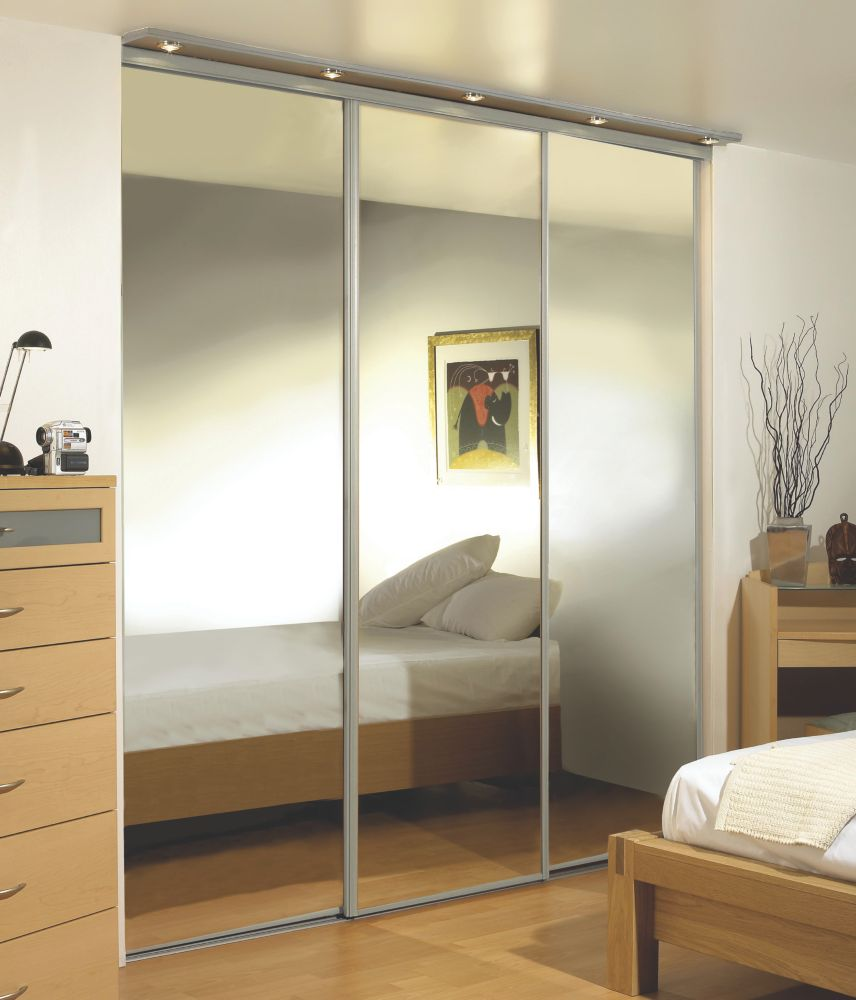 Silver Framed Wardrobe Mirror Door 2280 x 2286mm