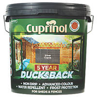 Cuprinol 5-Year Ducksback Water-Based Fence Treatment Silver Copse 9Ltr