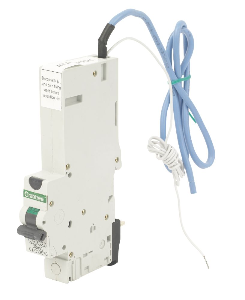 Crabtree 20A 30mA SP Type C Curve RCBO