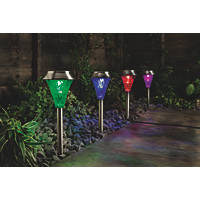Cole & Bright Gardman Colour Changing Solar Post Lights Stainless Steel 4 Pack