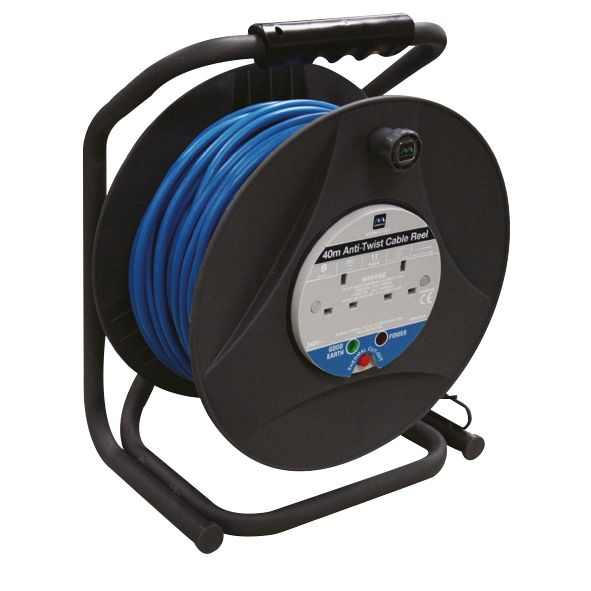 Masterplug Anti-Twist' Cable Reel 2G 240V 40m