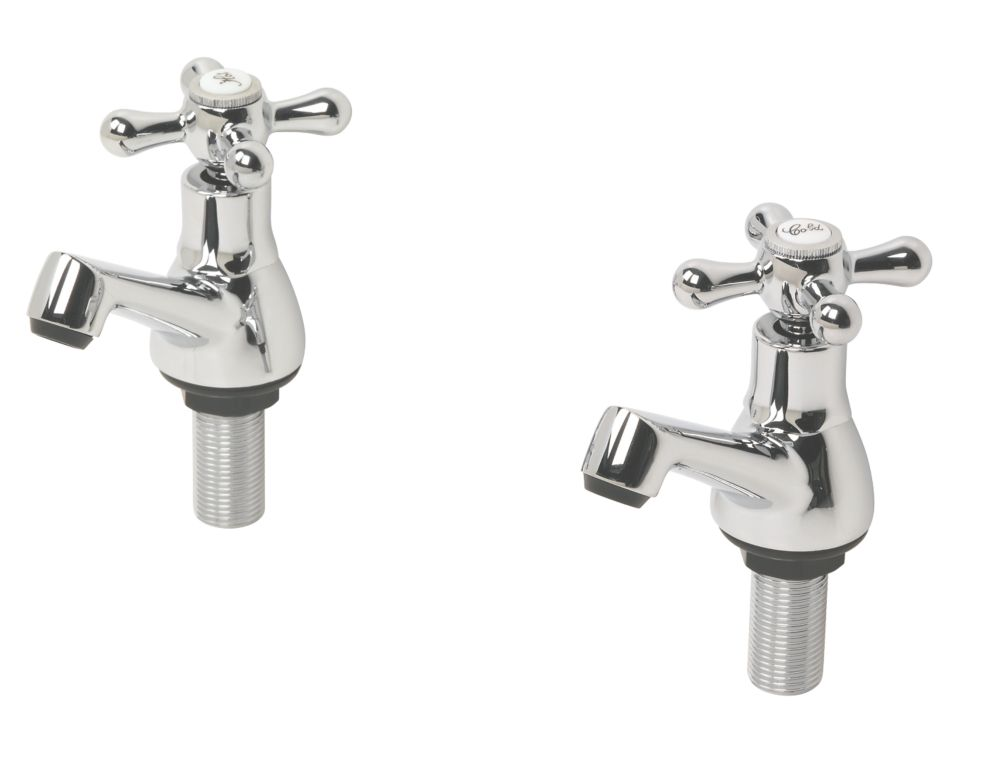 Swirl Traditional Bathroom Basin Taps Chrome Pair