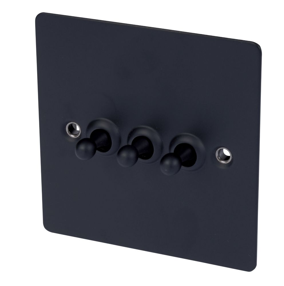 Volex 3-Gang 2-Way Toggle Switch Matt Black Flat Plate