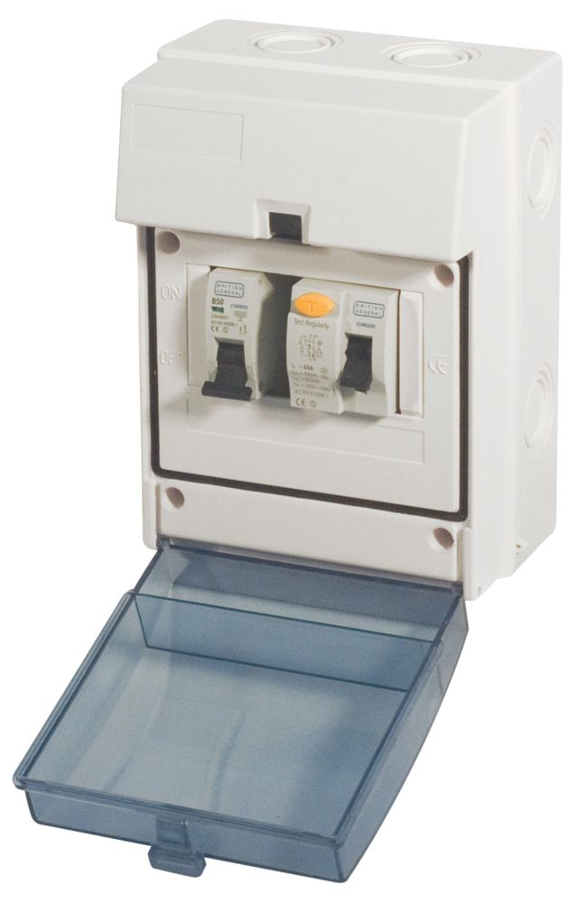 Shower Kit Enclosure 5-Module IP55 63A RCD 50A MCB