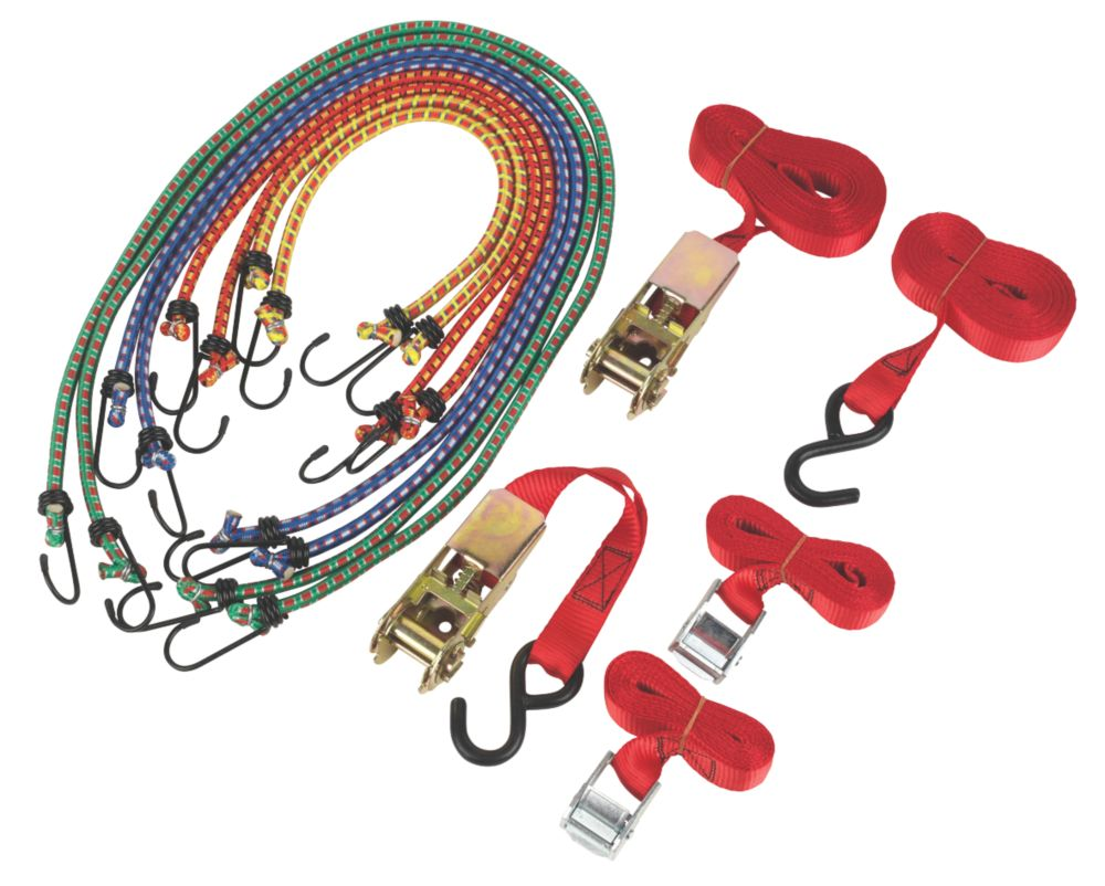 Ratchet Cambuckle Tie-Down & Bungee Set 12 Pieces