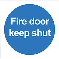 """Fire Door Keep Shut"" Signs 100 x 100mm 50 Pack"