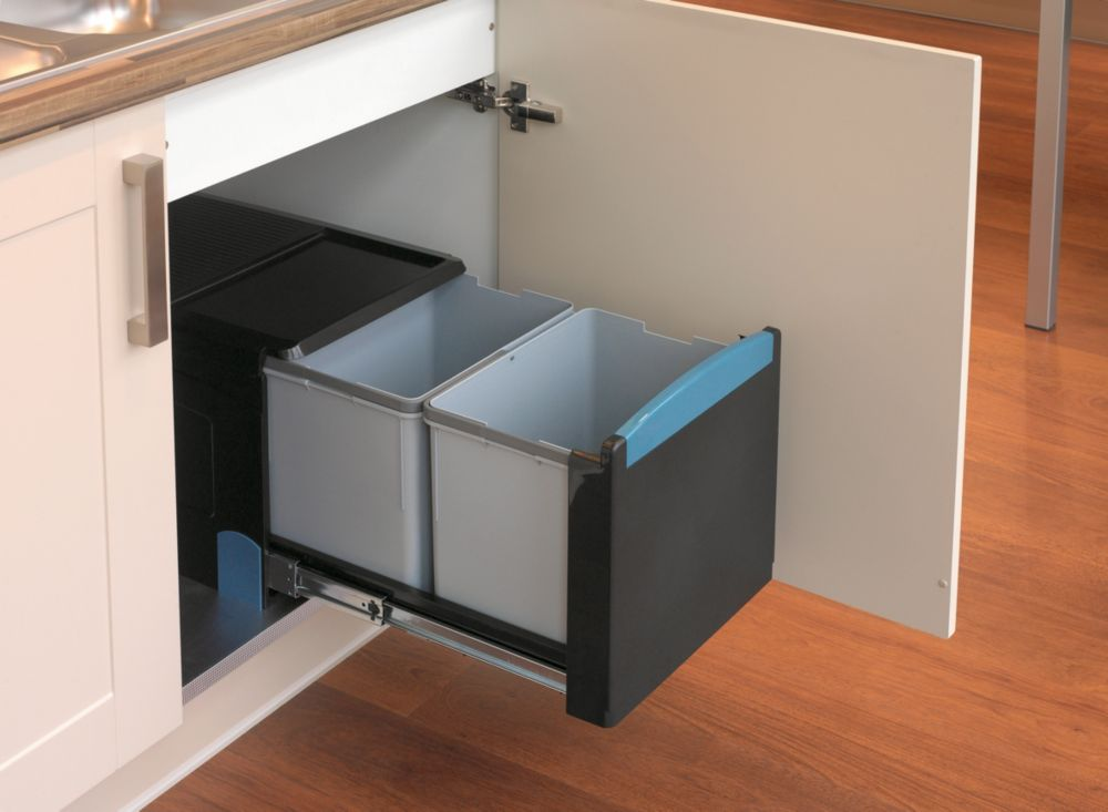 Built-In Recycling Separator Black 2 x 18Ltr