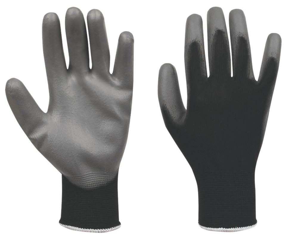 Secure Handling PU Palm Gloves Grey / Black Large