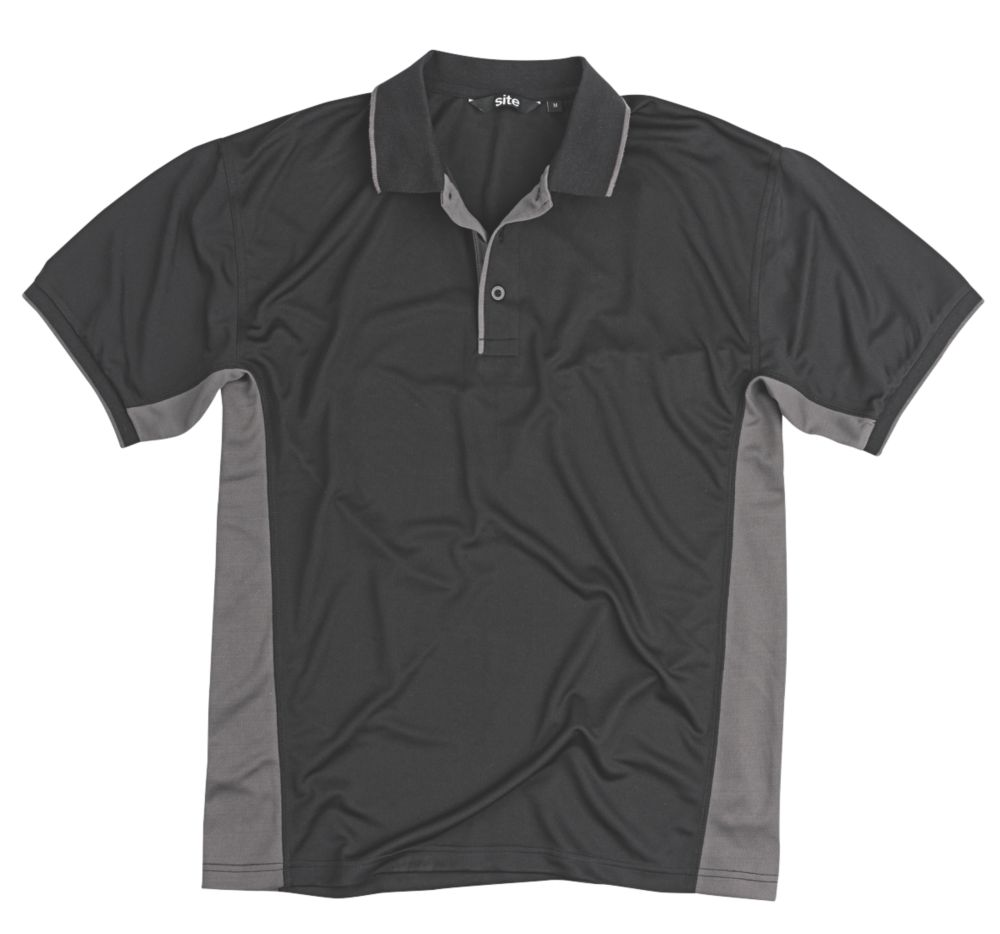 """Site Moisture Wicking Polo Shirt Black X Large 46-48"""" Chest"""