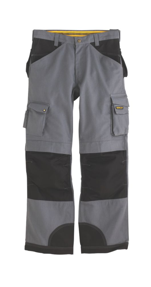 """CAT Trademark Trousers C172 Grey/Black 34""""W 34""""L"""