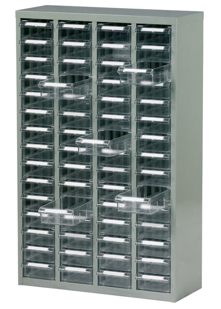 Steel Drawer Cabinet with 60 Bin Trays 586 x 222 x 937mm