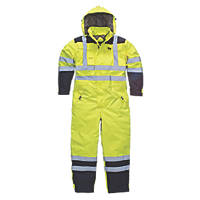 """Dickies SA7000 Hi-Vis Waterproof Safety Coverall Yellow XL 50"""" Chest 30"""" L"""