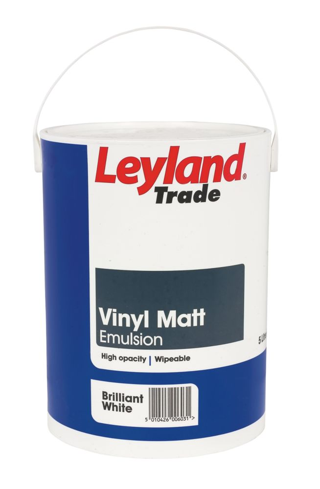 Leyland Vinyl Matt Paint Brilliant White 5Ltr