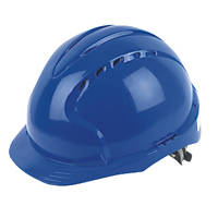 JSP EVO2 Mid Peak Slip-Ratchet Vented Safety Helmet Blue