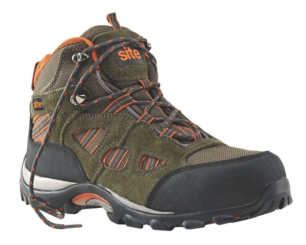 Site Basalt Safety Trainer Boots Khaki / Orange Size 7