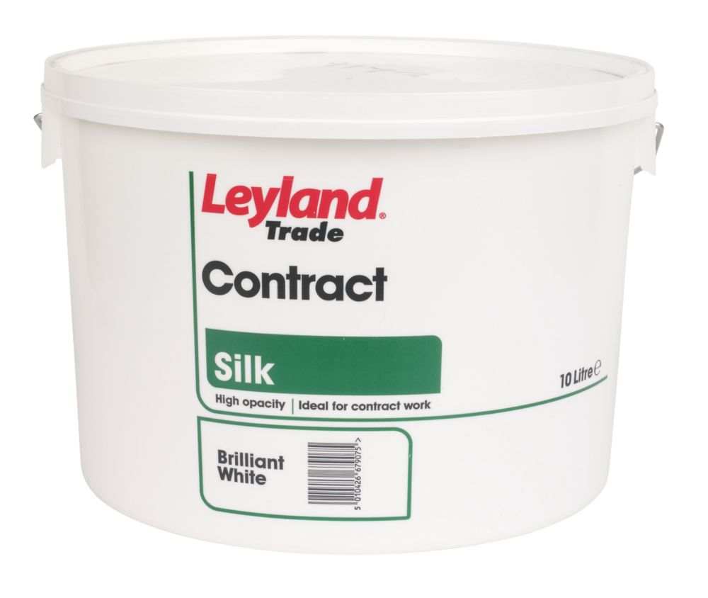 Leyland Contract Silk Emulsion Paint Brilliant White 10Ltr