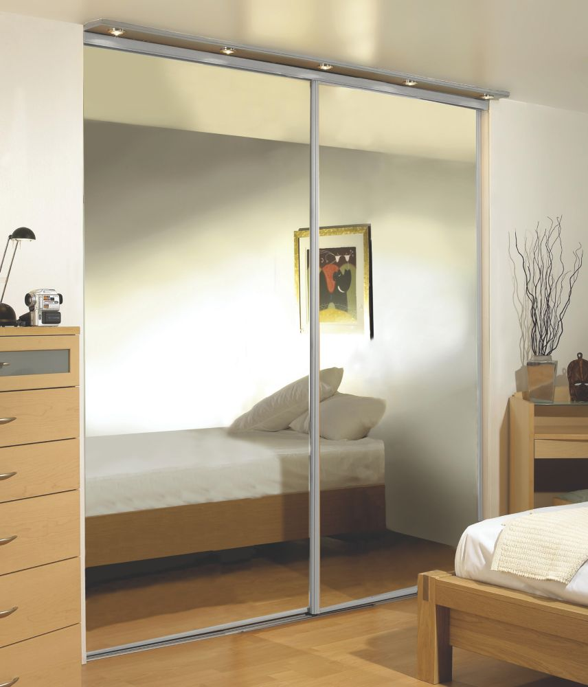 Silver Framed Wardrobe Mirror Door 1520 x 2330mm