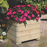 Rowlinson Square Patio Planters Natural Timber 500 x 500 x 390mm 4 Pack