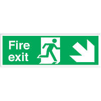 """Fire Exit"" Down Right Arrow Signs 150 x 450mm 50 Pack"