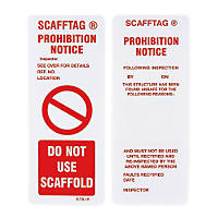 Scafftag Scaffold Prohibition Inserts 110 x 50mm 10 Pack