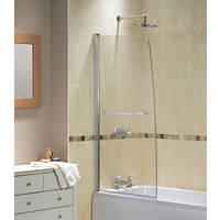 Sail Bath Screen Semi-Framed Silver/Clear 850 x 1500mm