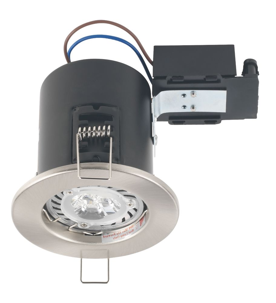Robus Fire Rated Fixed Mains Voltage Downlight Brushed Chrome 240V
