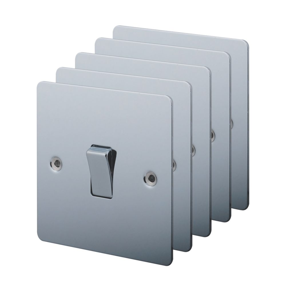 LAP 1-Gang 2-Way 10AX Light Switch Polished Chrome Pack of 5