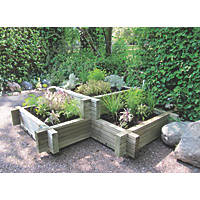 Grange Square Wooden Planter Green 900 x 900 x 280mm