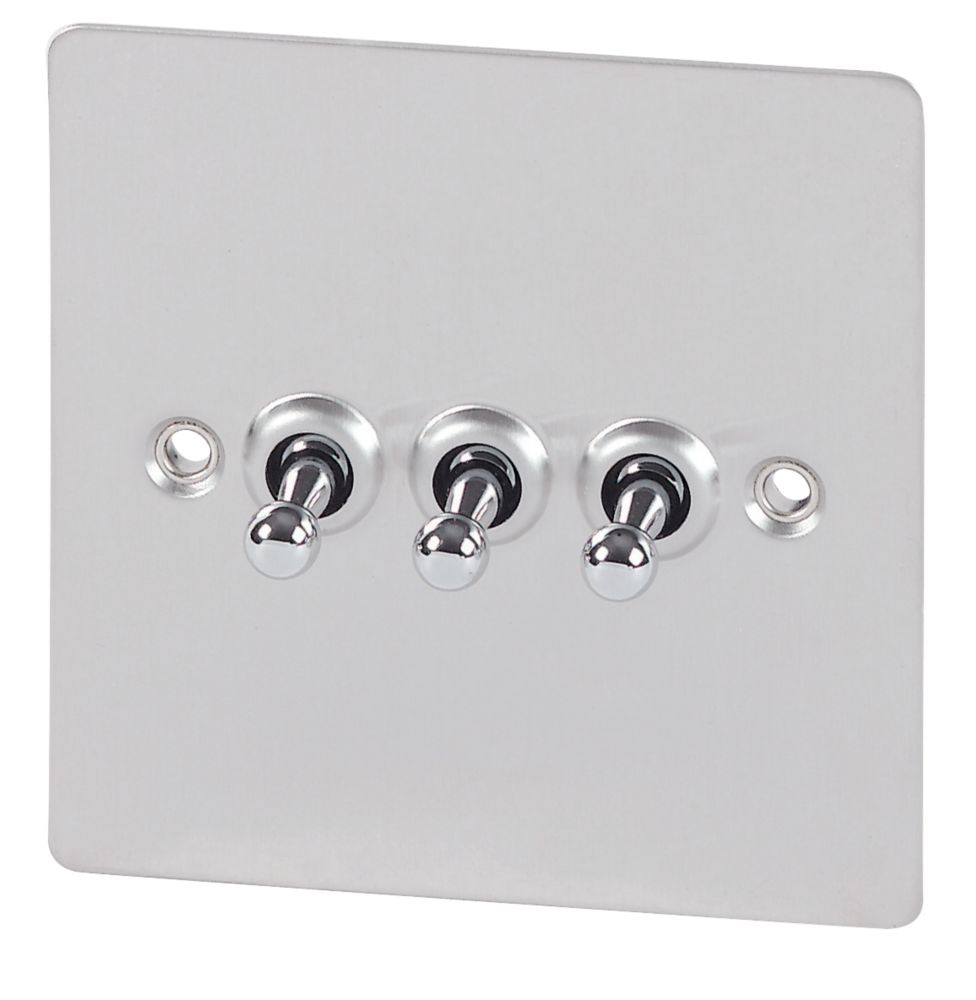 Volex 3-Gang 2-Way Toggle Switch Brushed Stainless Flat Plate