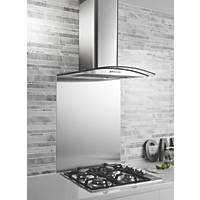 GHX60SS Curved Glass Cooker Chimney Hood Stainless Steel 600mm