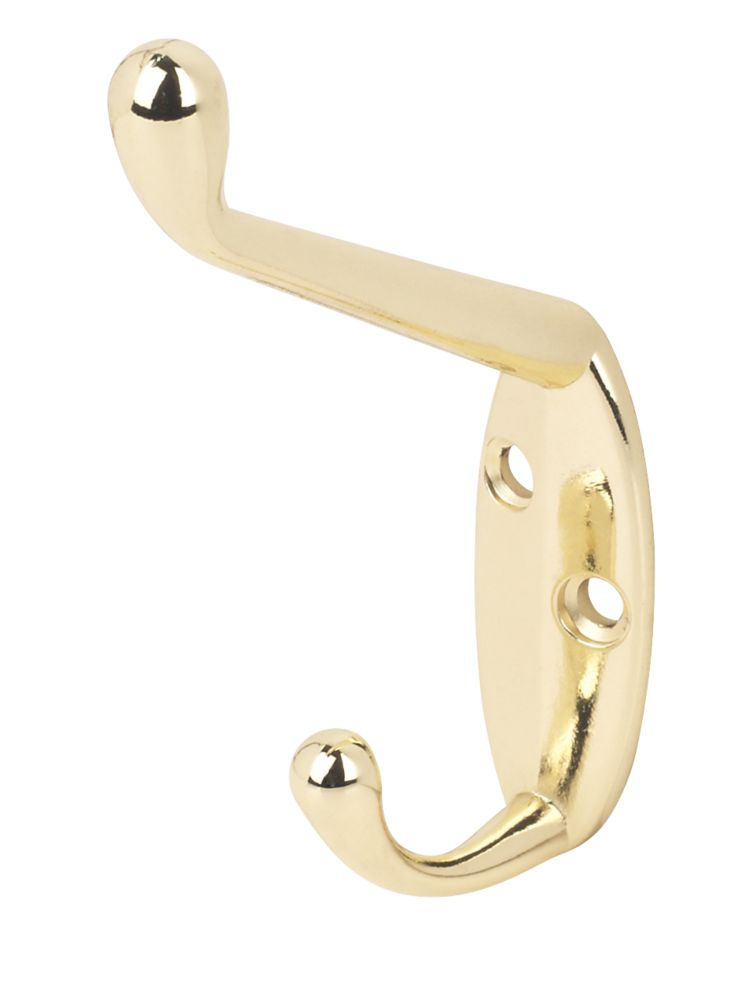 Standard Hat & Coat Hook Brass 86mm Pack of 2