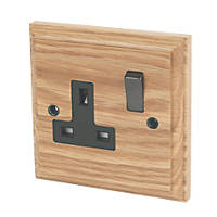 Varilight 13A DP 1-Gang Switched Socket Classic Oak