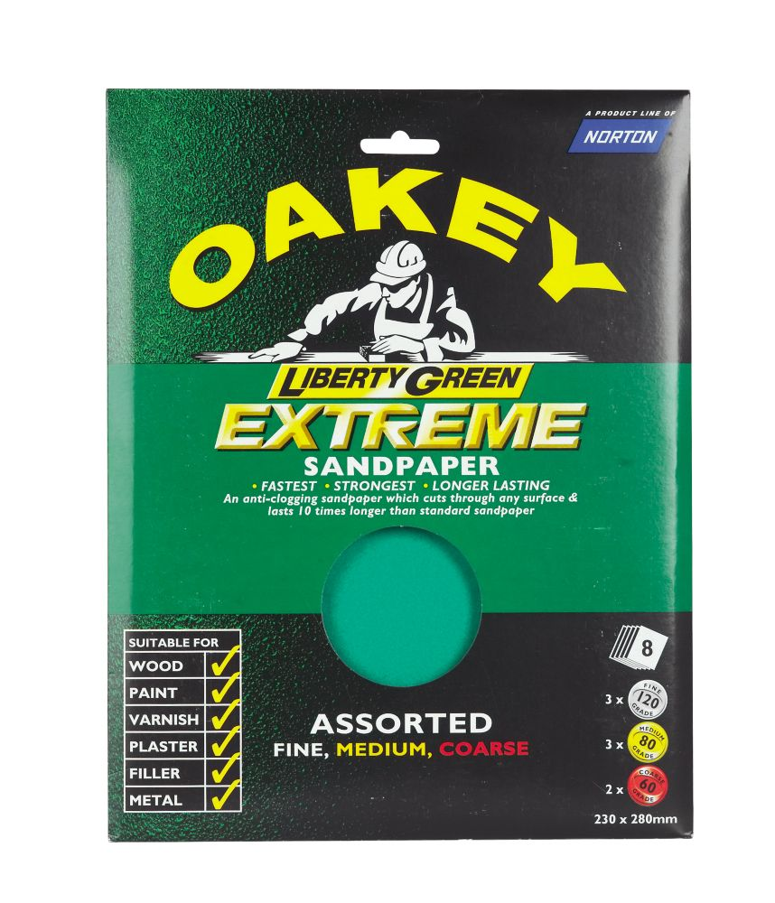 Oakey Extreme Assorted Sandpaper Pack of 8